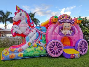 unicorn fairytale bounce house with slide
