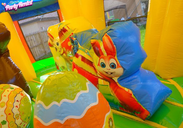 easter eggs and bunny bounce house