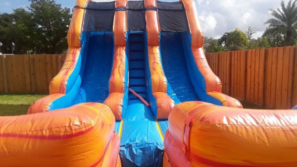 orange and blue water slide