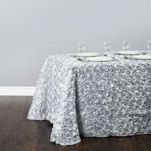 silver rosette tablecloth