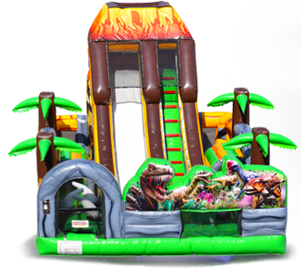 Dinosaur bounce house and obstacle