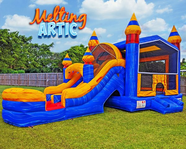 melting artic bounce house with slide - logo