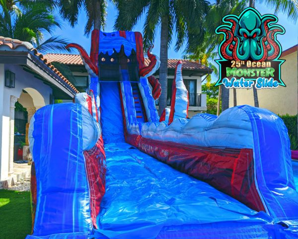 ocean monster combo water slide with logo