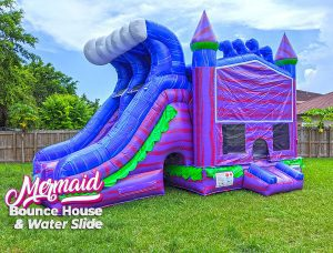 mermaid bounce house with slide for pool